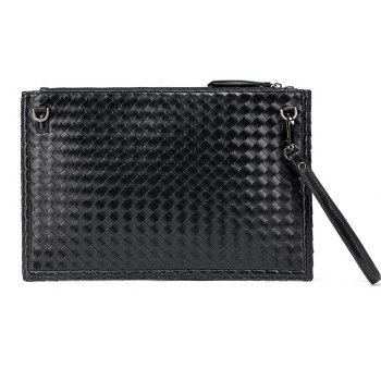 Knitting Handbag New Men's Hand Caught Bag Fashion Leather Casual Business Clutch with Wristlet - BLACK