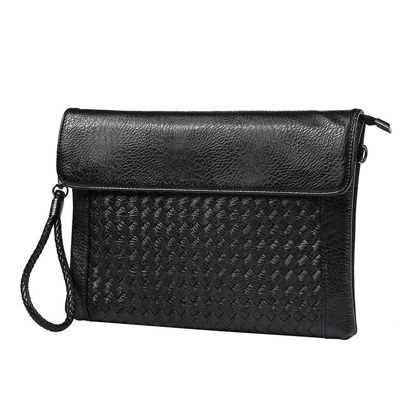 Korean Men's Handbag Knitting Hand Caught Wallet with Wristlet Casual Crossbody Bag for iPad - BLACK