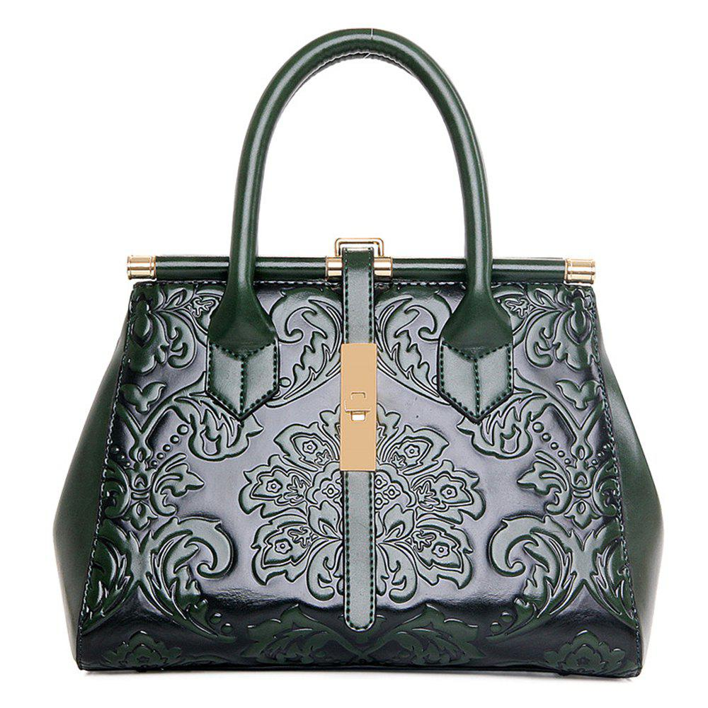 Large-Capacity Embossed Ethnic Style Simple Fashion Wild Ladies Handbag Tide - GREEN