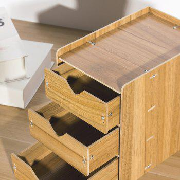 HECARE Wooden Cosmetic Sundry Manual Storage Box Organizer Stand with Drawer - BROWN 3 LAYER