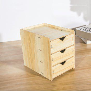 HECARE Wooden Cosmetic Sundry Manual Storage Box Organizer Stand with Drawer - YELLOW 3 LAYER