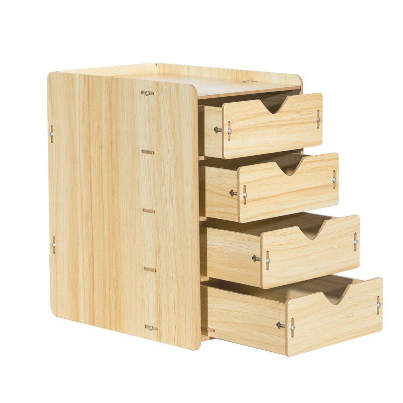 HECARE Wooden Cosmetic Sundry Manual Storage Box Organizer Stand with Drawer - YELLOW 4 LAYER