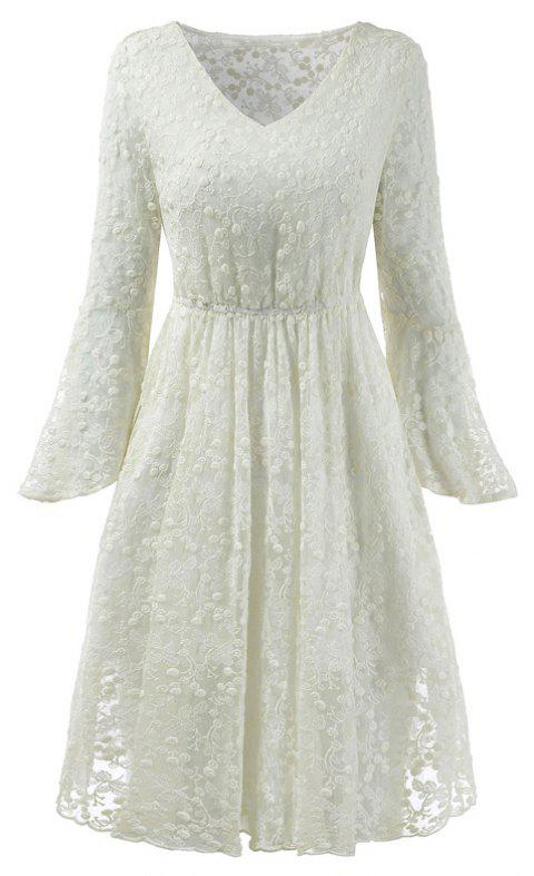 2018 printemps broderie Floral Lace Flare Sleeve Girl Robes - Blanc S