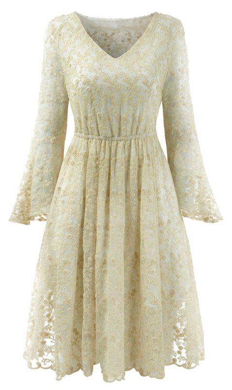 2018 Spring Embroidery Floral Lace Flare Sleeve Girl Dresses - BEIGE S