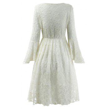 2018 Spring Embroidery Floral Lace Flare Sleeve Girl Dresses - WHITE S