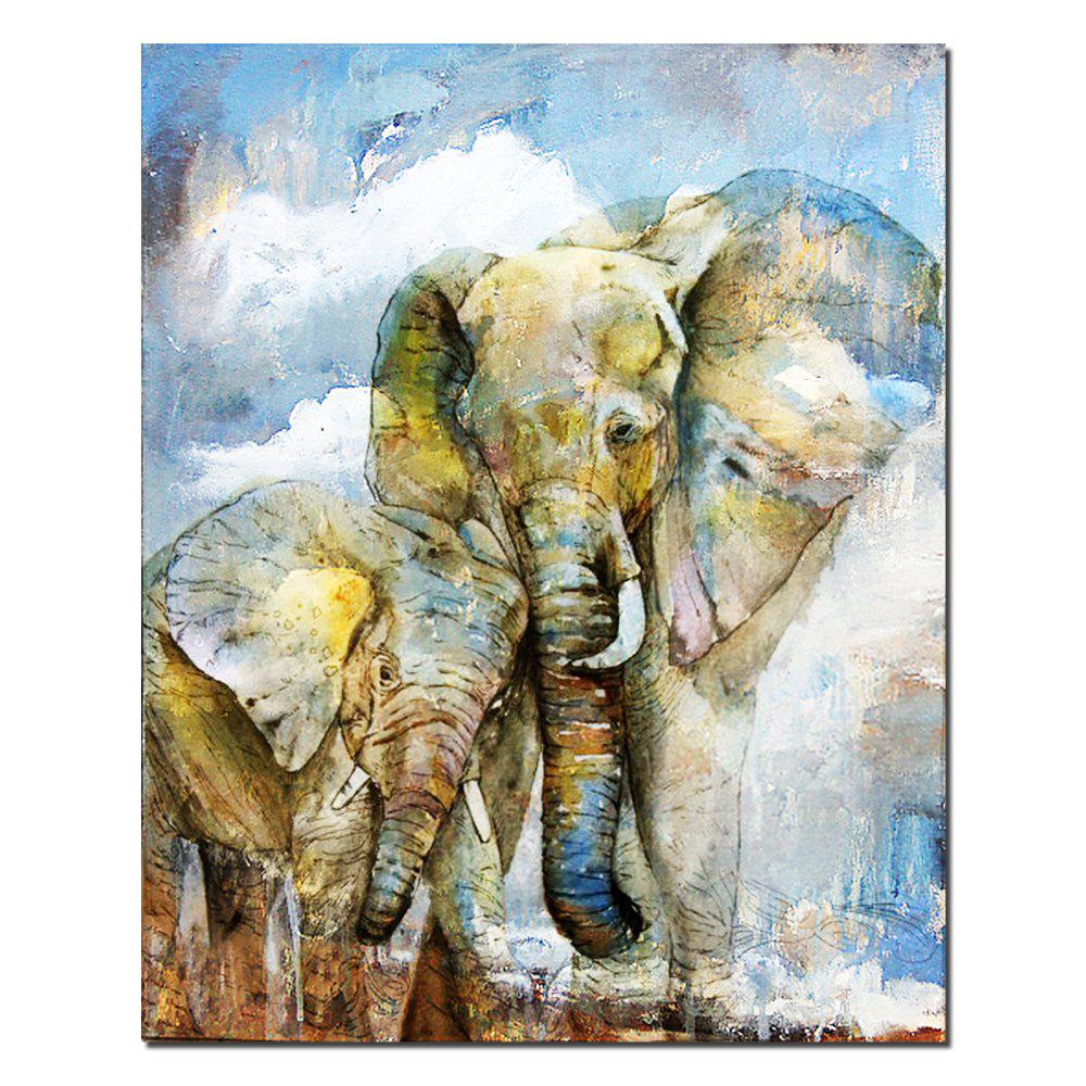Modern Abstract Decorative Printing Elephant Minimalist Home Wall Art Painting - BLUE GRAY 12 X 16 INCH (30CM X 40CM)