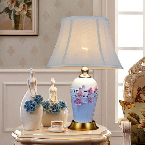 New Chinese Ceramic Table Lamp Creative Three-Dimensional Carved Flower Bedroom Bedside Living Room Decoration - PINK
