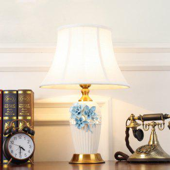 New Chinese Ceramic Table Lamp Creative Three-Dimensional Carved Flower Bedroom Bedside Living Room Decoration - BLUE