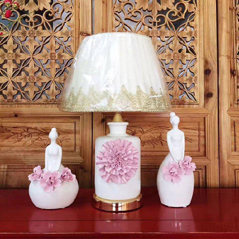 CT8022 European Living Room Bedroom Bedside Ceramic Desk Lamp - PINK