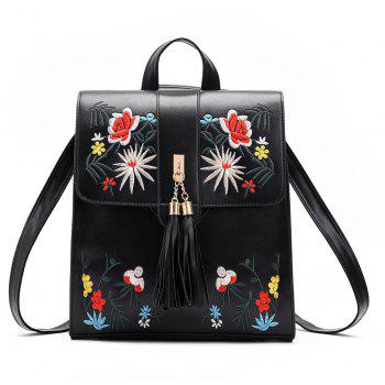 Tassel Backpack PU Leather Embroidery Women Backpacks