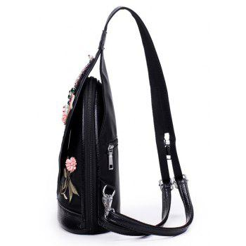 3D Diamond Dragonfly Women Shoulder Bag Embroidery Flower Ladies Backpacks School Bags For Girls - BLACK