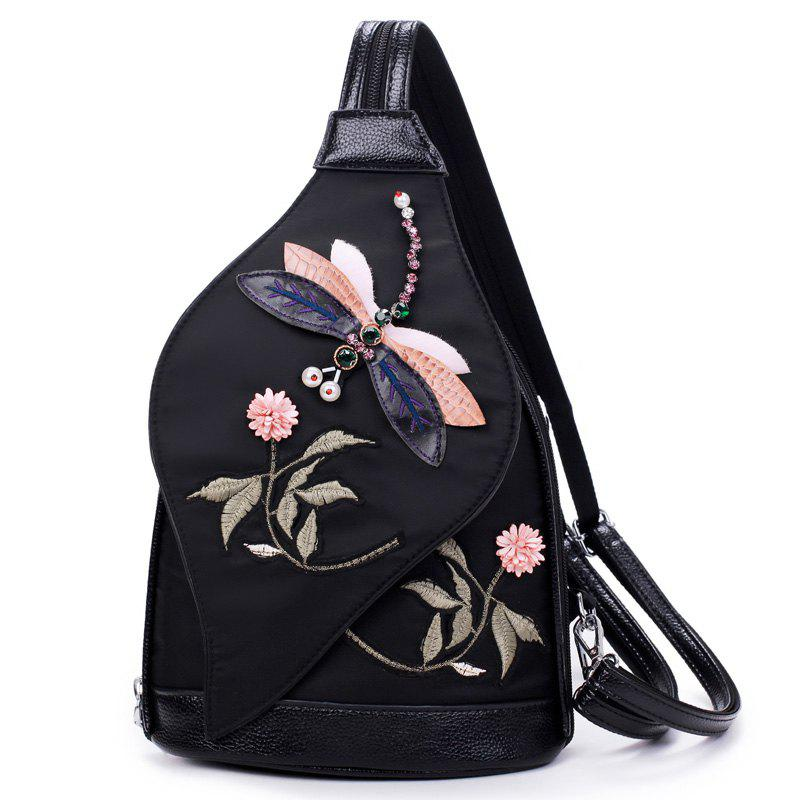 3D Diamond Dragonfly Women Shoulder Bag Embroidery Flower Ladies Backpacks School Bags For Girls women bts backpack high quality youth leather backpacks for teens girls female school shoulder bag mochila rucksack