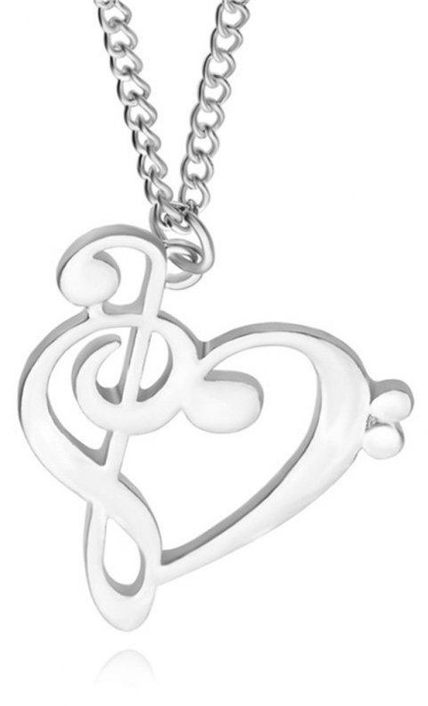 New Simple Lady Hollowed Out Music Symbol Pendant Necklace - SILVER
