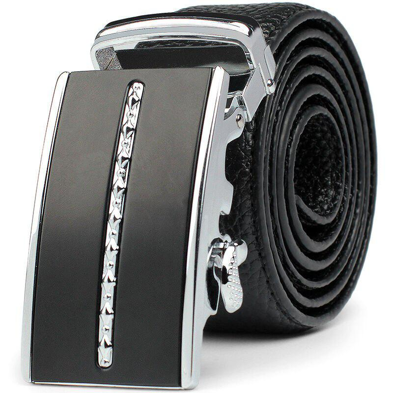 Men's Business Casual Automatic Buckskin Leather Belt - BLACK