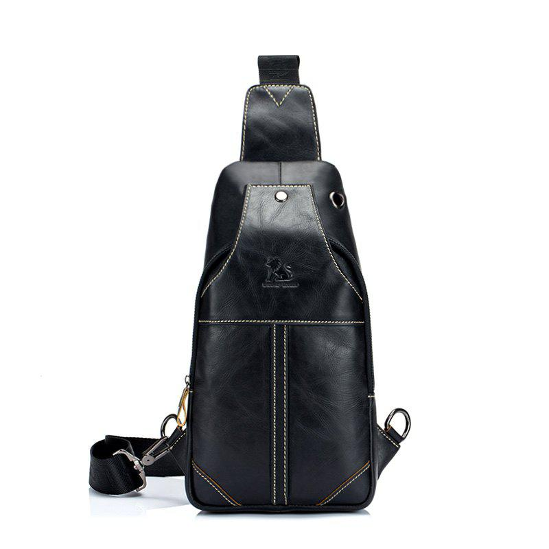 LaoShiZi High Quality Men Genuine Leather Cowhide Casual Sling Chest Back Fashion Cross Body Messenger Shoulder Bag - BLACK