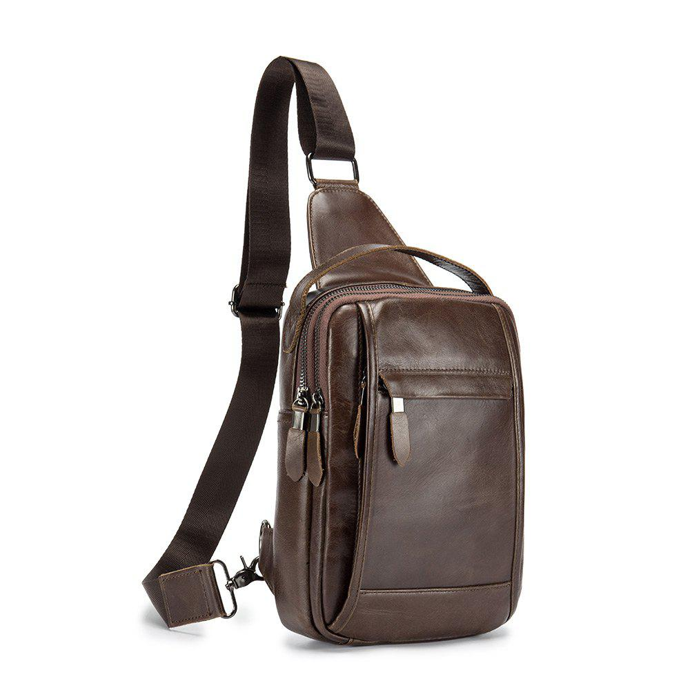 2018 New Design Men Bags Famous Brand Design Genuine Leather Chest Bag - BROWN