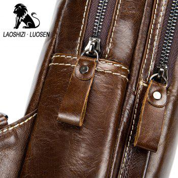 LAOSHIZI LUOSEN High Quality Men Genuine Leather Cowhide Casual Sling Chest Back  Fashion Cross Body Messenger Shoulder - BROWN VERTICAL