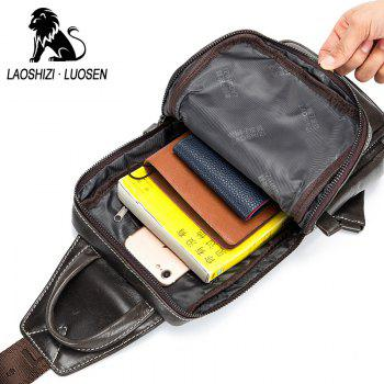 LAOSHIZI LUOSEN High Quality Men Genuine Leather Cowhide Casual Sling Chest Back  Fashion Cross Body Messenger Shoulder - ESPRESSO VERTICAL