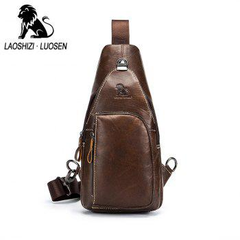 LAOSHIZI LUOSEN 2018 Men Fashion Vintage Genuine Leather Cowhide Travel Riding Motorcycle Messenger Sling Pack Chest Bag - BROWN VERTICAL