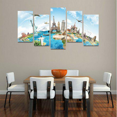 MailingArt F016 5 Panels Landscape Wall Art Painting Home Decor Canvas Print - multicolor 30X60CM 4PCS + 30X80CM 1PC   12X24INCH 4PCS + 12X3