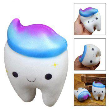 Jumbo Squishy Cute Smiley Teeth Cake Scented Slow Rising Squeeze Toys - BLUE
