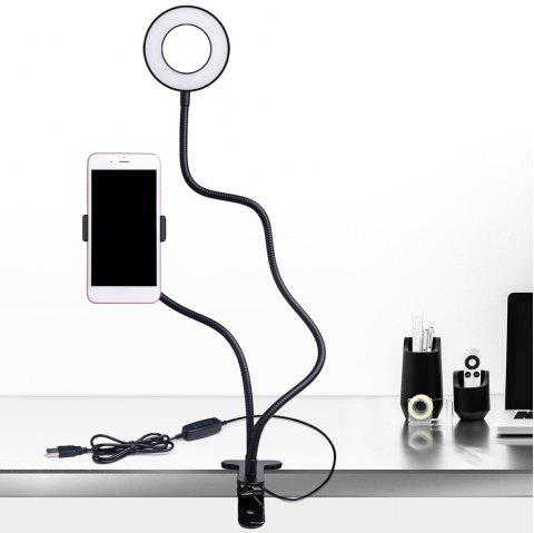 Multi-Function Portable Cell Phone Holder with Selfie LED Light - BLACK