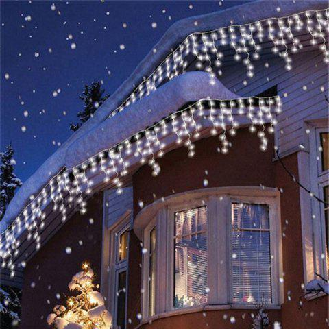 1PC New Year 3.5M Droop 96 LED Curtain Icicle String Lights 8 Modes Fairy Garland For Christmas Outdoor Decoration - WHITE LIGHT AC220V