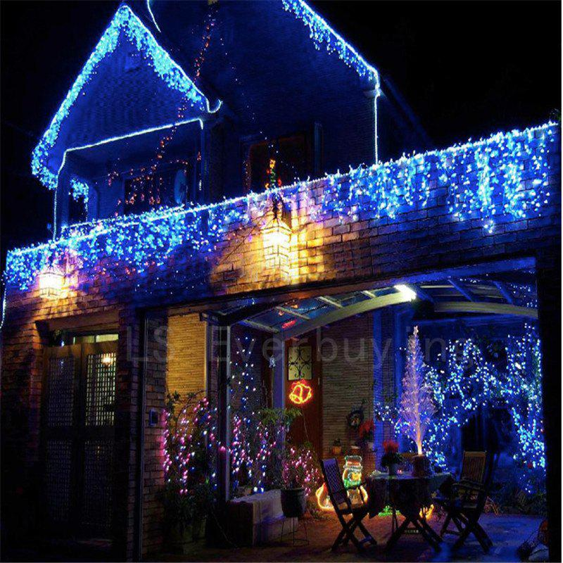 1PC New Year 3.5M Droop 96 LED Curtain Icicle String Lights 8 Modes Fairy Garland For Christmas Outdoor Decoration - BLUE LIGHT AC110V