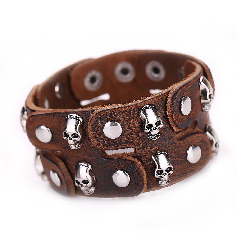 2018 mg1020 leather rivets bracelet brown in bracelets for Rivets for leather jewelry