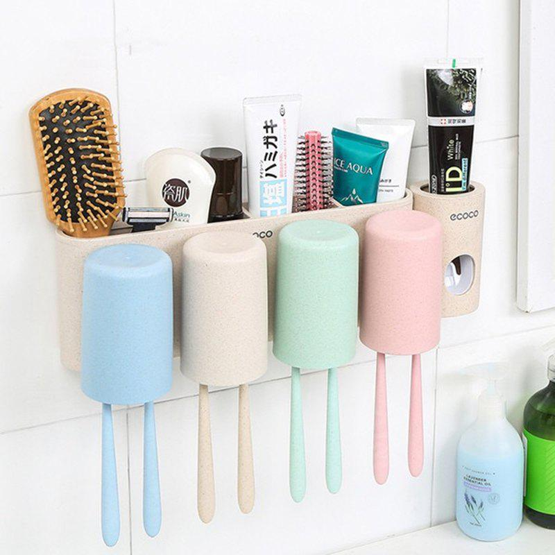 Wheat Straw Washing Set Four Family Toothbrush Rinse Cup Wall Wash Box - COLOUR 31X11.5X11.4