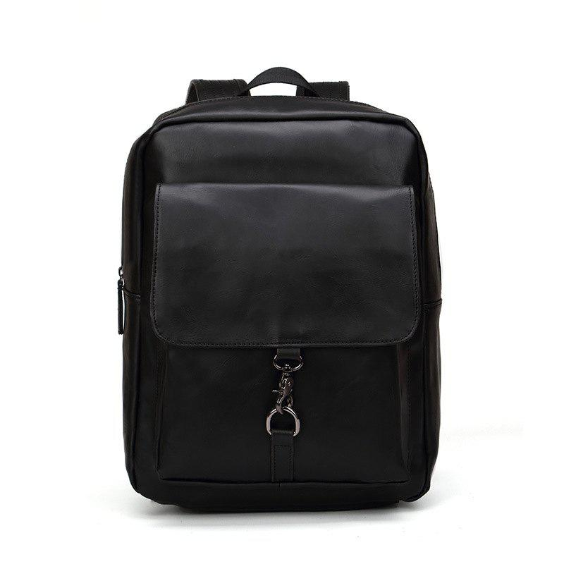 New Rucksack Shoulder Bag Fashion Men's Leather Backapack - BLACK