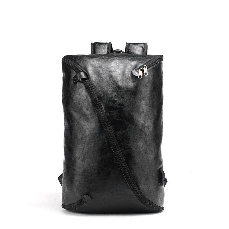 New Men's Unique Fashion Leather Backpack Personality Rucksack Laptop Knapsack Travel Bag - BLACK