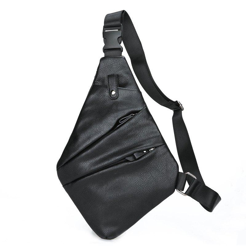 New Fashion Leather Unbalance Backpack Small Crossbody Bag Chest Pack - BLACK