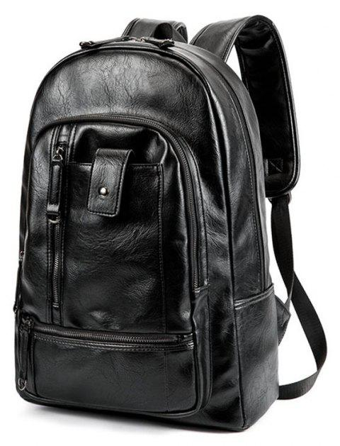 Men s Fashion Travel Outdoor Backpack Leather Large Capacity Rucksack  Laptop Knapsack Bag - BLACK 9ac0d9f268a62