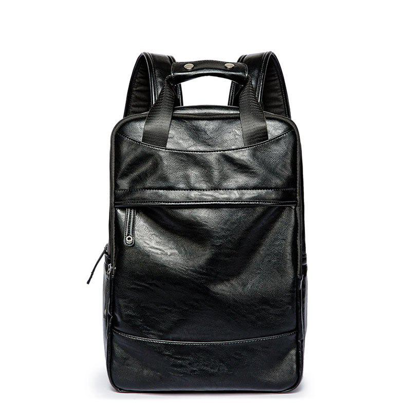 Men's  Leather Shoulder Backpack Travel Large Capacity Knapsack - BLACK