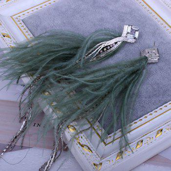 Tassel Rhinestone Feather Temperament Long Sexy Sweet Earrings - ARMYGREEN