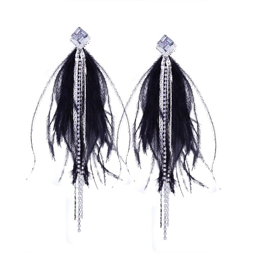 Tassel Rhinestone Feather Temperament Long Sexy Sweet Earrings - BLACK