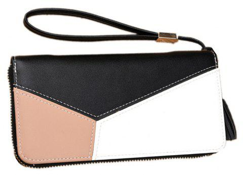 Simple Contrast Color Stitching Wallet - BLACK
