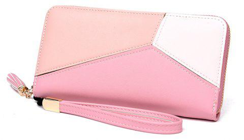 Simple Contrast Color Stitching Wallet - PINK