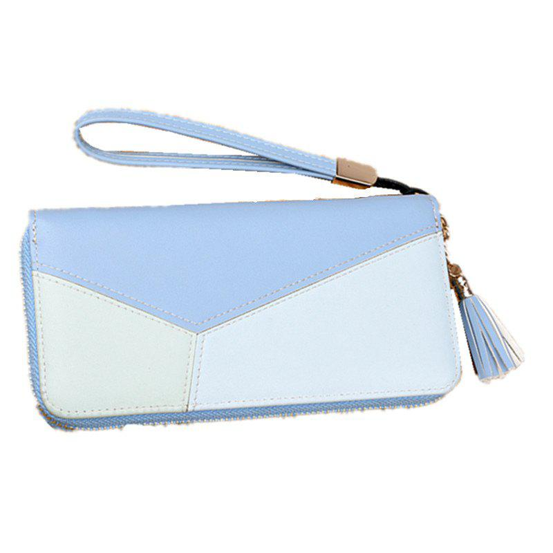 Simple Contrast Color Stitching Wallet - BLUE