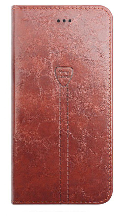 Luxury Leather Wallet Case for iPhone 7 Plus Mobile Phone Shell Handset Flip Card Slot - TEA COLORED