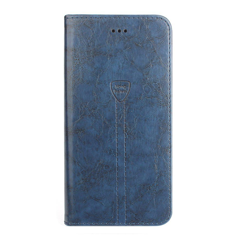 Luxury Leather Wallet Case for iPhone 7 Plus Mobile Phone Shell Handset Flip Card Slot - CADETBLUE