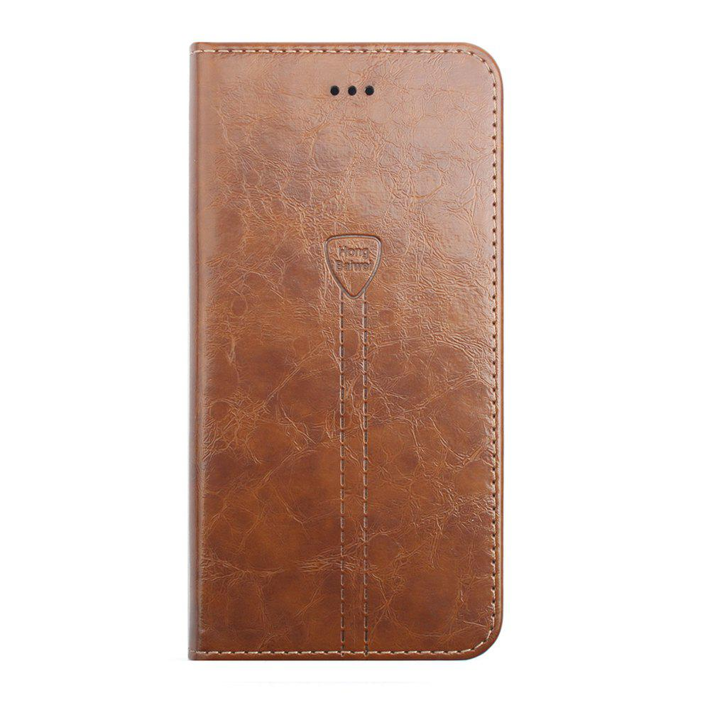 Luxury Leather Wallet Case for iPhone 7 Plus Mobile Phone Shell Handset Flip Card Slot - BROWN