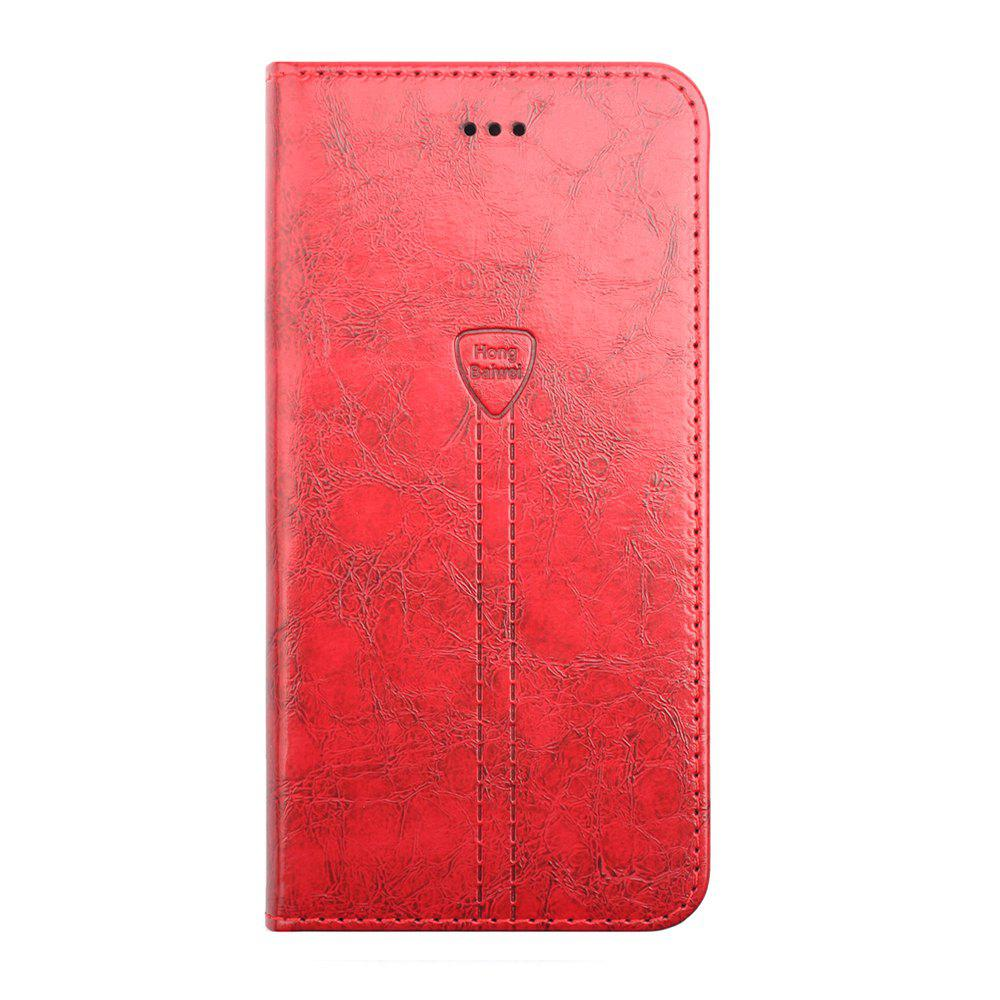 Luxury Leather Wallet Case for iPhone 7 Plus Mobile Phone Shell Handset Flip Card Slot - RED