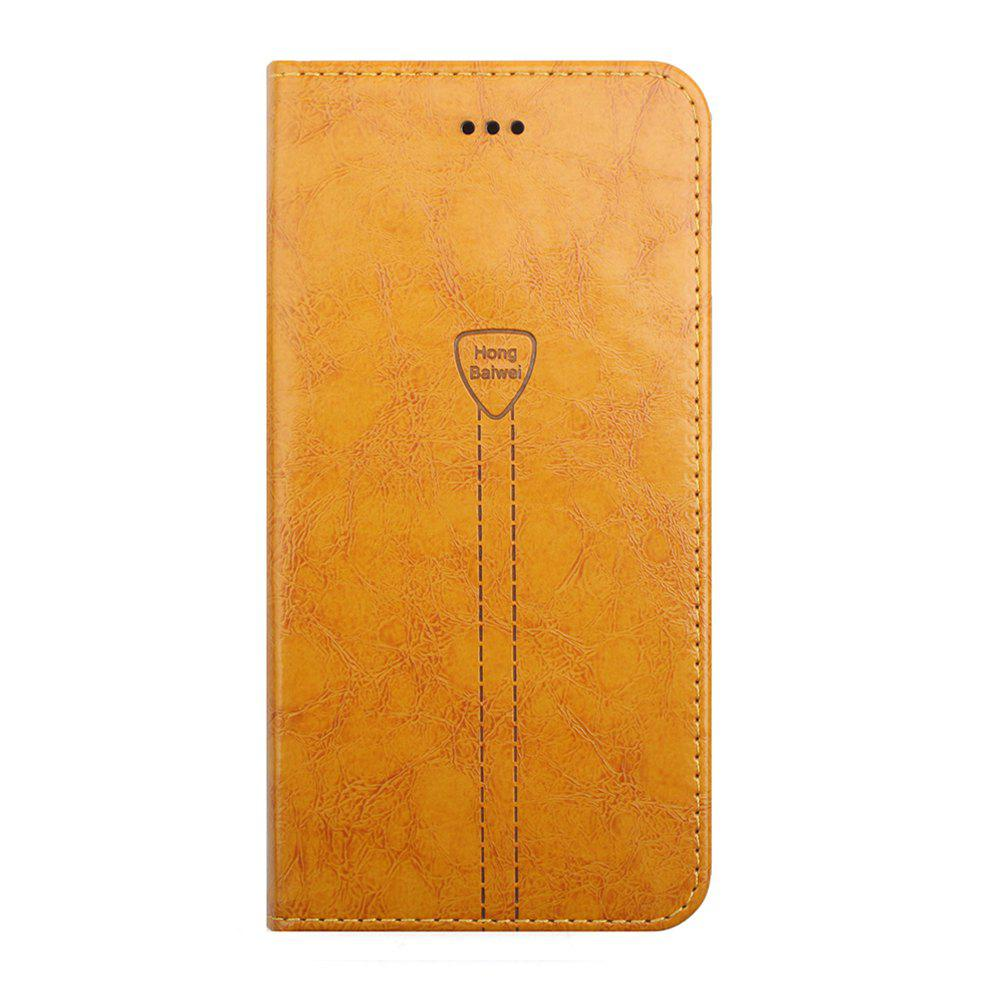 Luxury Leather Wallet Case for iPhone 7 Plus Mobile Phone Shell Handset Flip Card Slot - ORANGE