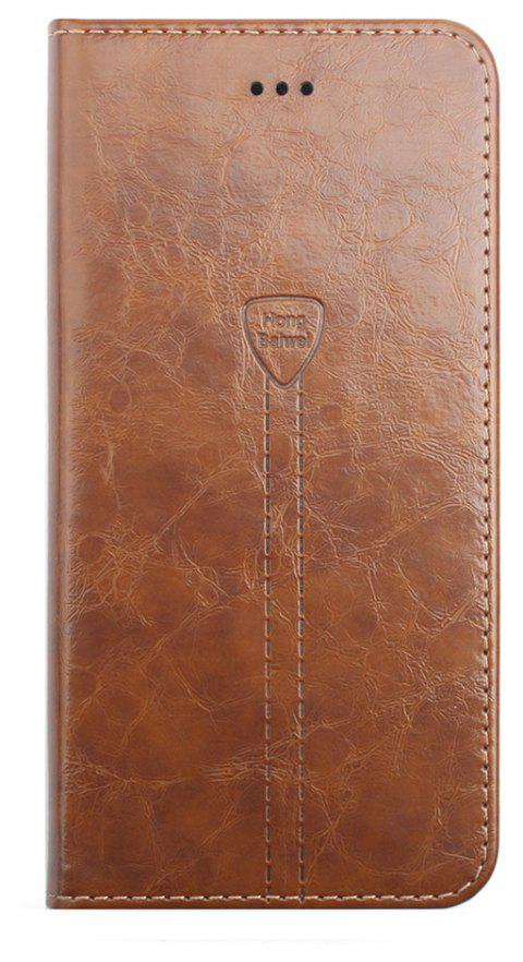 Flip Case for iPhone 8 Plus Leather Luxury Wallet Card Slots Holder Stand Cover - BROWN