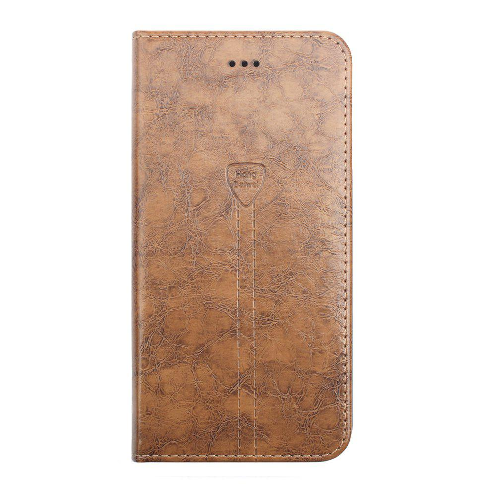 Flip Case for iPhone 8 Plus Leather Luxury Wallet Card Slots Holder Stand Cover - CAMEL