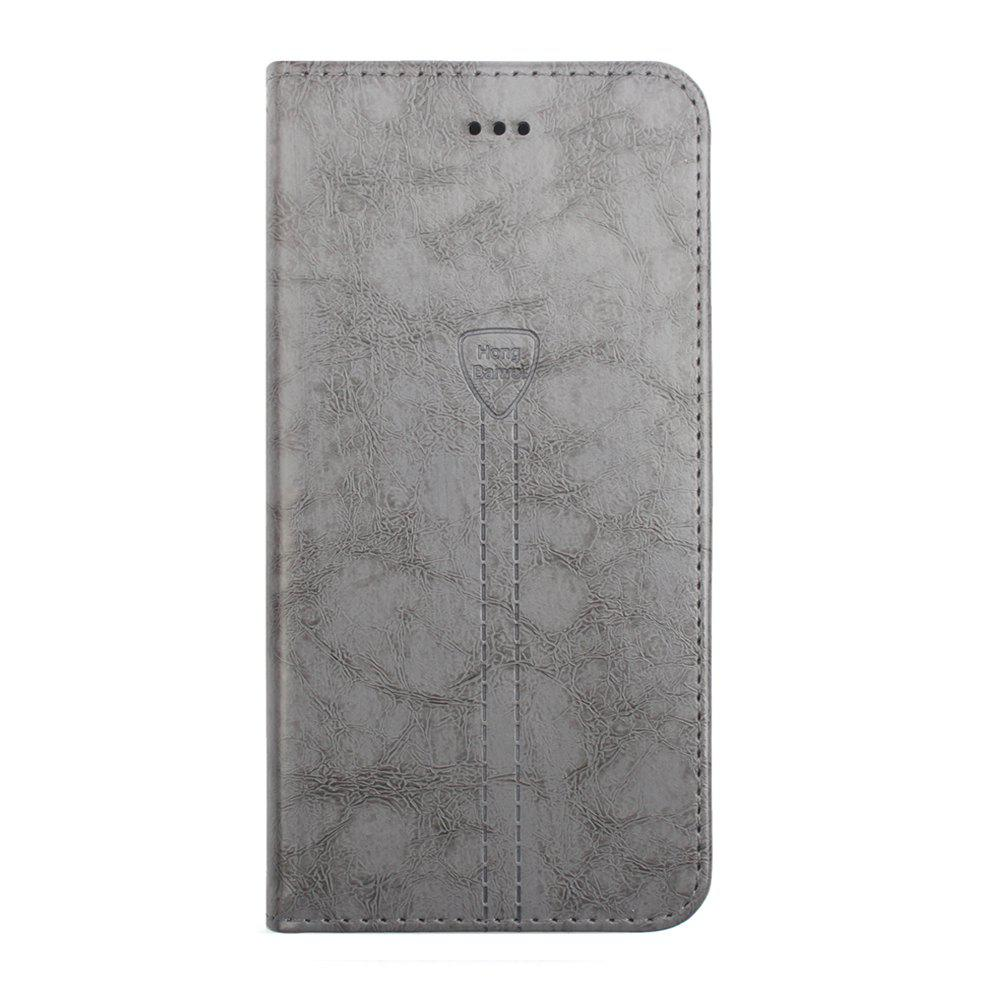 Flip Case for iPhone 8 Plus Leather Luxury Wallet Card Slots Holder Stand Cover - GRAY