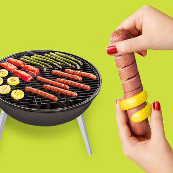 2 Pcs/Set Sausage Cutter Food -Grade Plastic Manual Fancy Sausage Cutter Spiral Barbecue Hot Dogs Slicer - RED/YELLOW