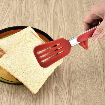 Kitchen Food Tongs Stands Design Barbecue Salad Grill Serving No-Stick Food Clip BBQ Tongs Bread Clamp - RED